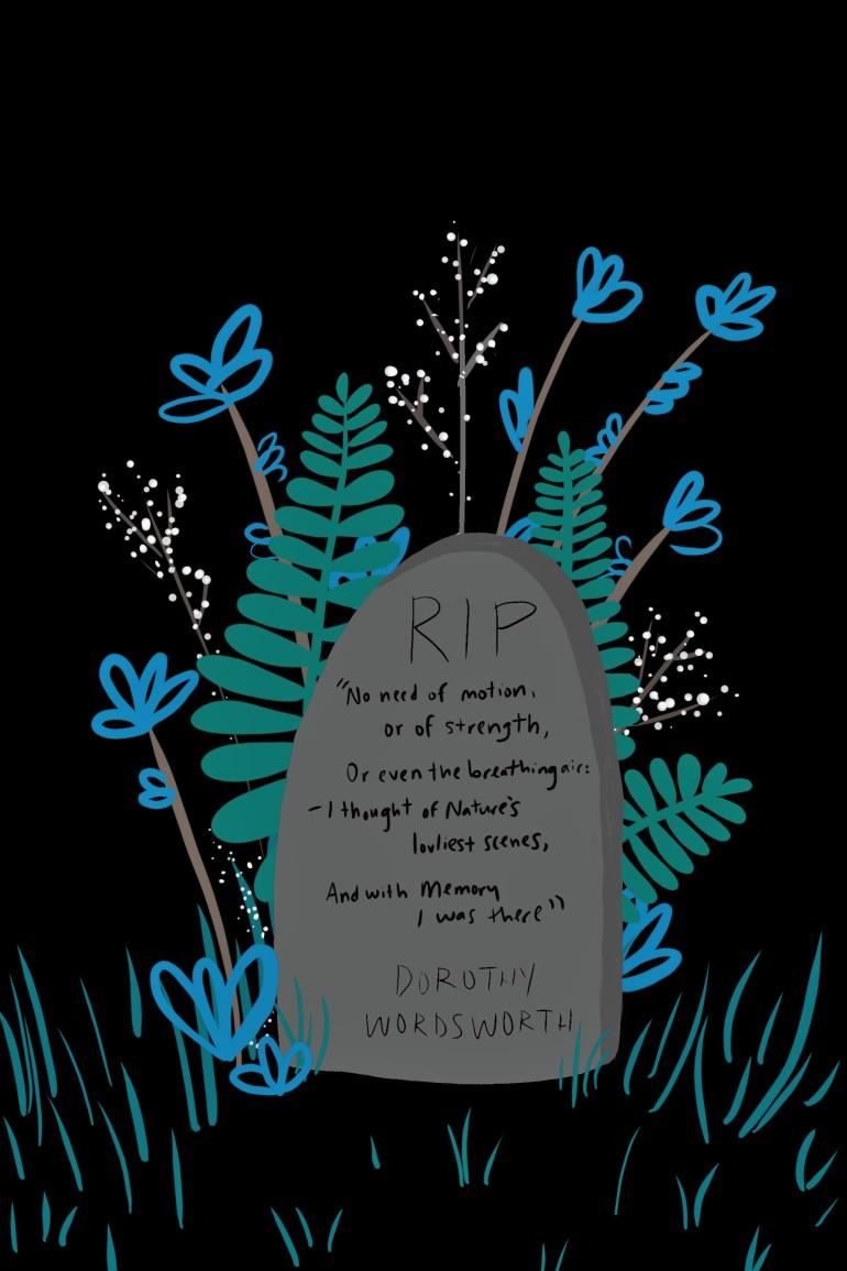 A poetic gravestone illustration by Carolyn Whittico