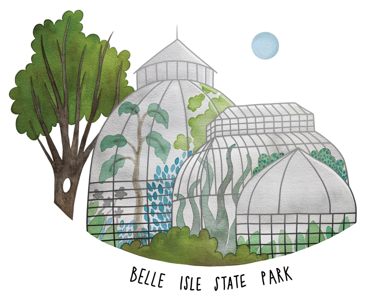Belle Isle State Park illustration by Carolyn Whittico