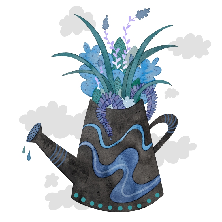 Gloom to Bloom watering can illustration by Carolyn Whittico