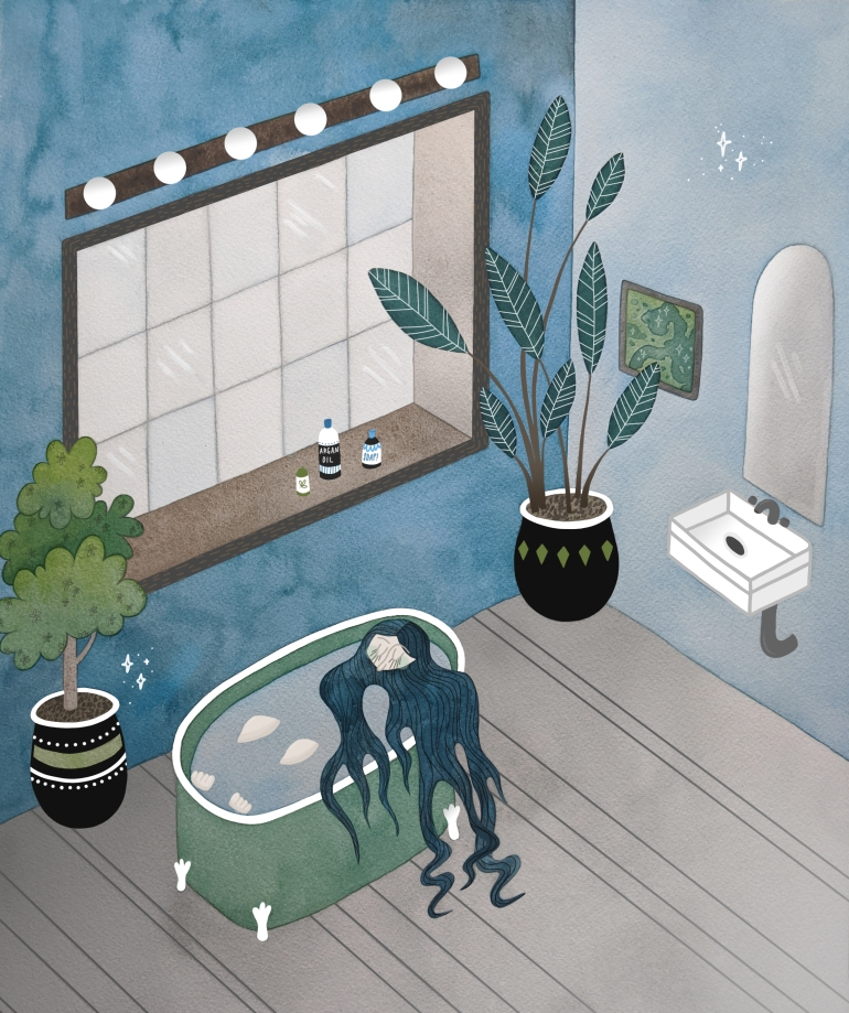 Queen of Hygiene bathroom illustration by Carolyn Whittico