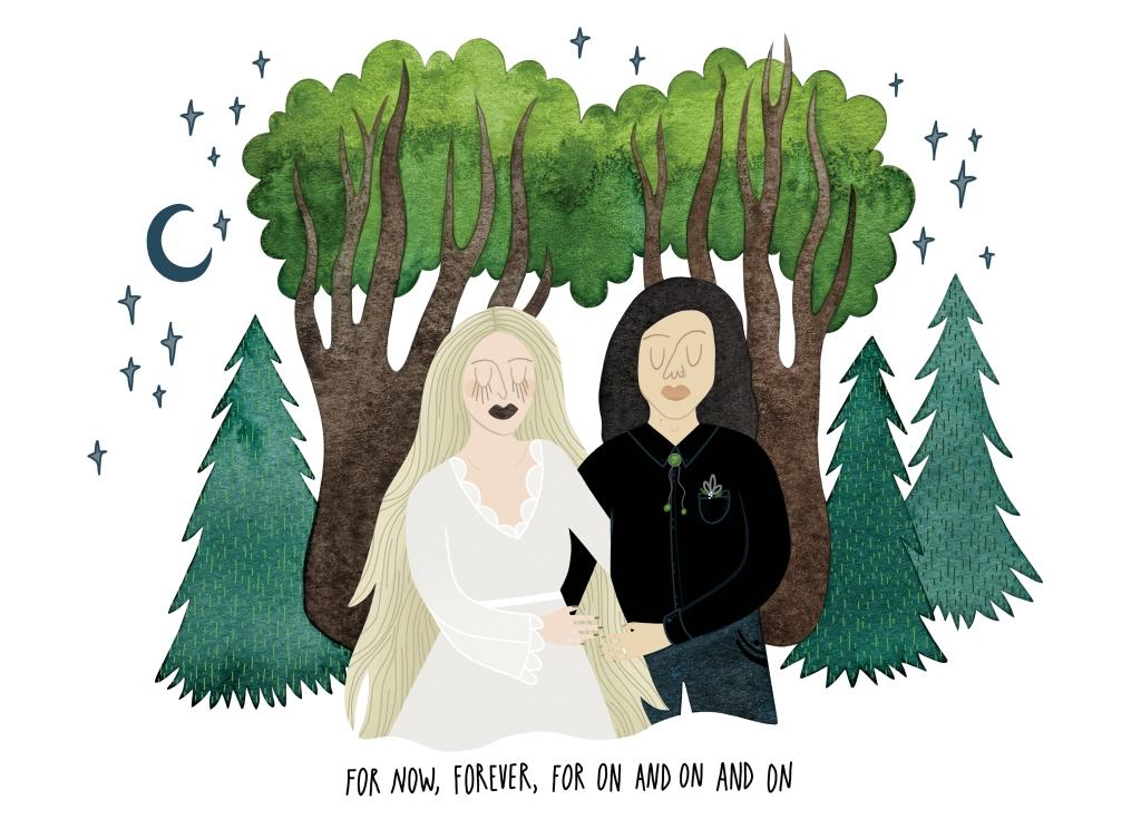 Wedding couple portrait illustration by Carolyn Whittico